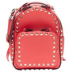 VALENTINO Rockstud Mini pink calf leather gold pyramid spike stud small backpack