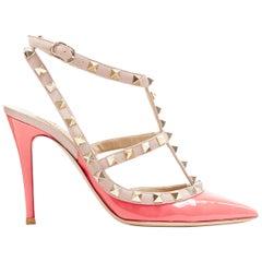 VALENTINO Rockstud neon pink patent gold studded caged point toe heel EU35.5