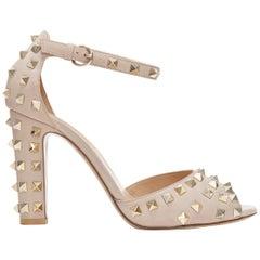 VALENTINO Rockstud nude beige leather gold studded peep  ankle strap pump EU38