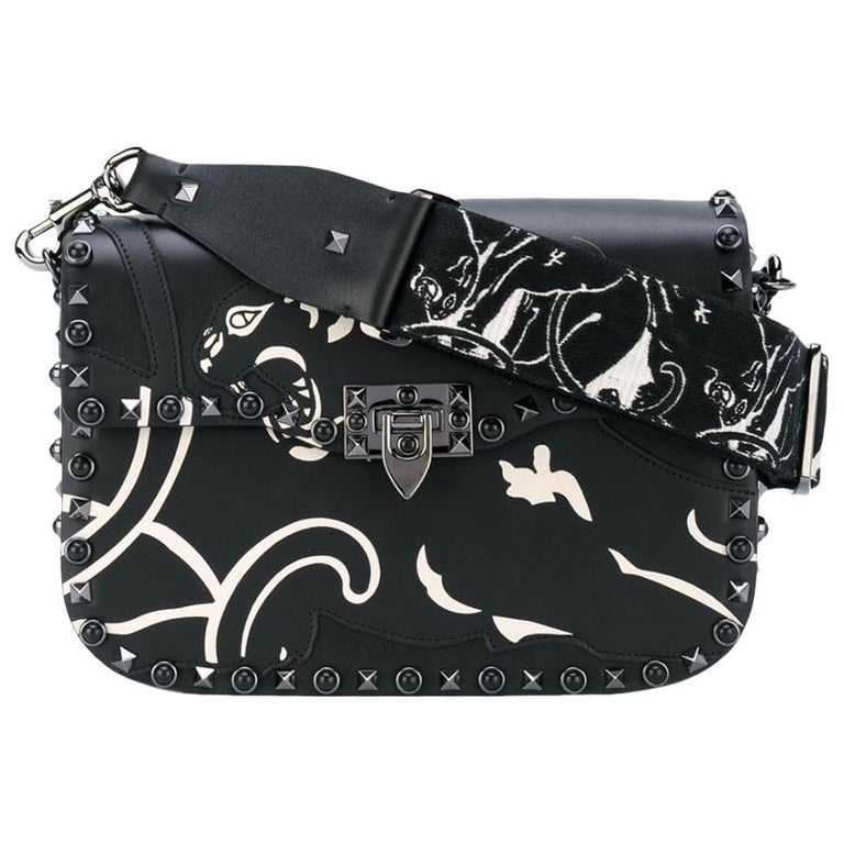 40e80672640a Valentino Rockstud Panther Embroidered Shoulder Bag For Sale at 1stdibs