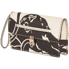 Valentino Rockstud Panther Leather Clutch Bag