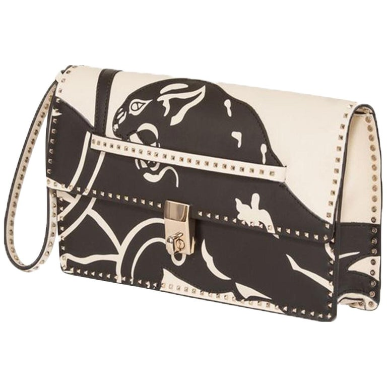5d737758d5d39 Valentino Rockstud Panther Leather Clutch Bag For Sale at 1stdibs