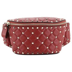 Valentino Rockstud Spike Belt Bag Quilted Leather Small