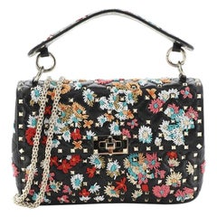 Valentino Rockstud Spike Flap Bag Bead Embellished Quilted Leather Medium