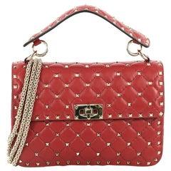 Valentino Rockstud Spike Flap Bag Quilted Leather Medium