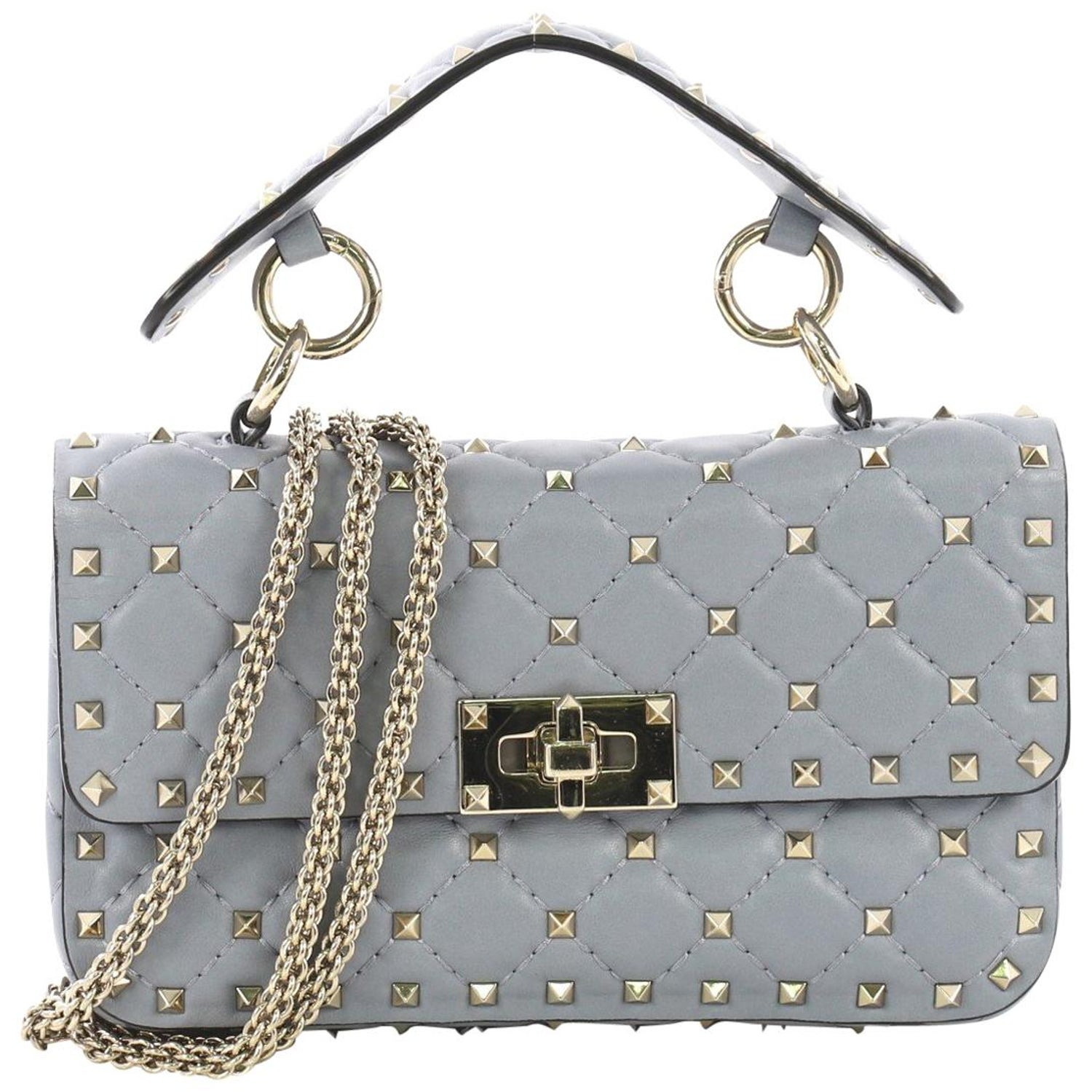 3dee70289f Valentino Rockstud Spike Flap Bag Quilted Leather Small at 1stdibs