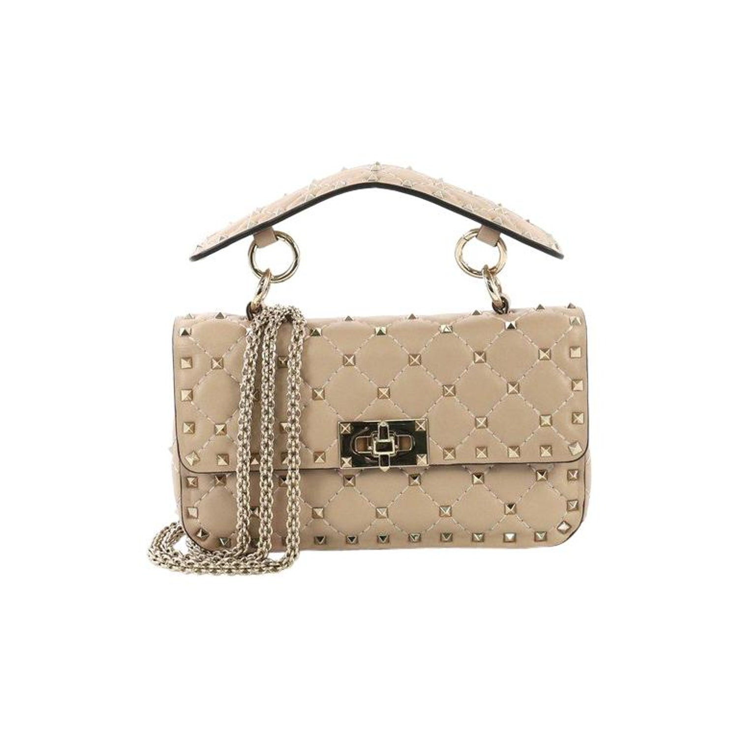 8a844f82616 Valentino Rockstud Spike Flap Bag Quilted Leather Small at 1stdibs