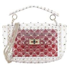 Valentino Rockstud Spike Flap Bag Quilted PVC Medium