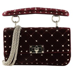 Valentino Rockstud Spike Flap Bag Quilted Velvet Small