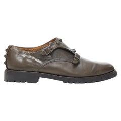 VALENTINO Rockstud stud embellished strap dual buckle monk brogue loafer EU42