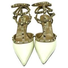 Valentino Rockstud TBar - Cream and Beige - Gold Studs - Size 41.5
