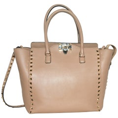 Valentino Rockstud Top Handle Taupe Leather Tote Bag