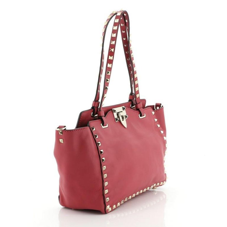 Brown Valentino Rockstud Tote Soft Leather Small