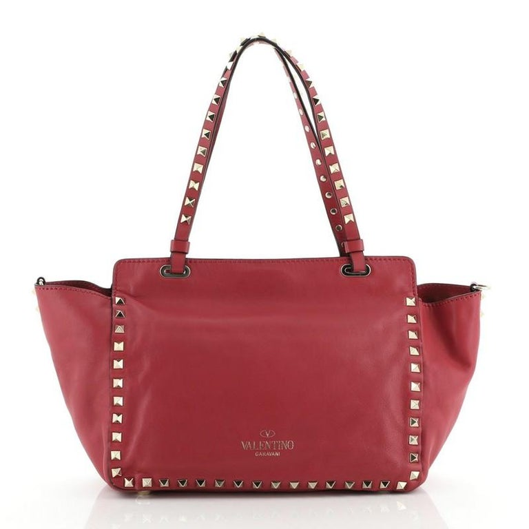 Valentino Rockstud Tote Soft Leather Small In Good Condition In New York, NY