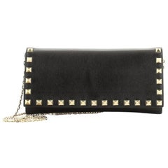 Valentino Rockstud Wallet On Chain Leather