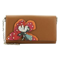 Valentino Rockstud Wallet On Chain Leather With Applique