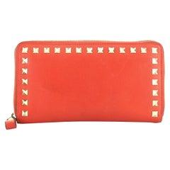 Valentino Rockstud Zip Around Wallet Leather