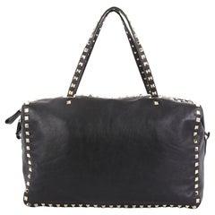 Valentino Rockstud Zip Boston Bag Leather