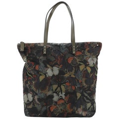 Valentino Rockstud Zip Tote Camubutterfly Printed Nylon Large