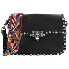 Valentino Rolling Rockstud Crossbody Bag Leather with Cabochons Medium