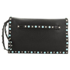 Valentino Rolling Rockstud Flap Clutch Leather with Cabochons Medium
