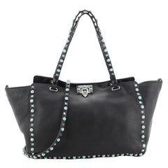 Valentino Rolling Rockstud Tote Leather with Cabochons Medium