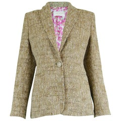 Valentino Roma Oatmeal Wool & Silk Bouclé Tweed Jacket with Floral Lining
