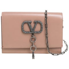 Valentino Rose Canelle Leather Small VCASE Swarovski Crystals Logo Shoulder Bag