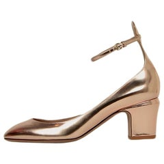 Valentino Rose Gold Metallic Leather Maryjanes Shoes sz 40