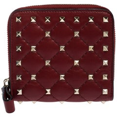 Valentino Rosso V. Soft Leather Rockstud Spike Compact Wallet