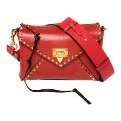 Valentino Rouge Pur Smooth Leather Rockstud Hype Shoulder Bag