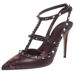Valentino Rubin Rose by Undercover Print Leather Strappy Sandals Size 39