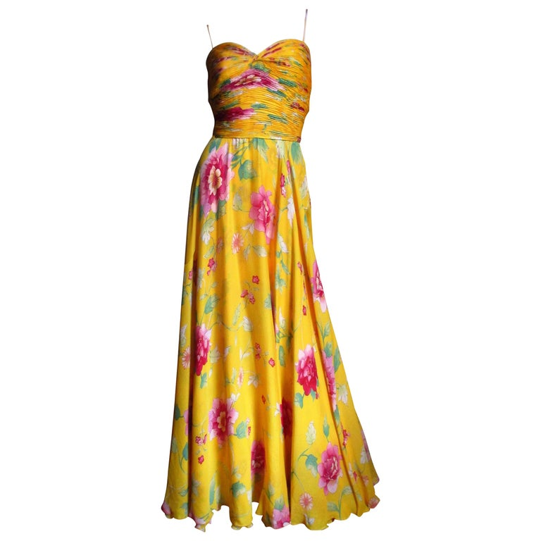 Valentino Ruched Silk Flower Gown For Sale