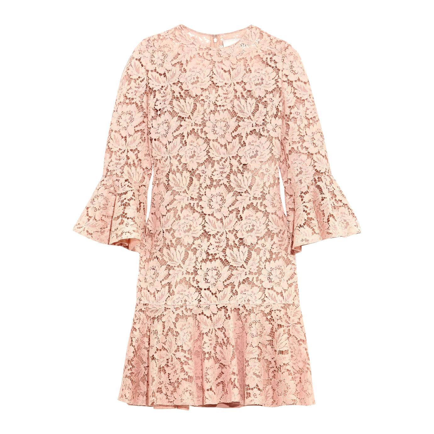 Valentino Ruffled Corded Cotton-Blend Guipure-Lace Mini Dress