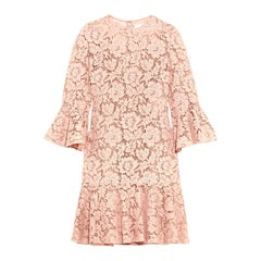 Valentino Ruffled Corded Cotton-Blend Guipure-Lace Mini Dress