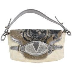 Valentino Runway Leather, Fur, Swarovski Crystals Bag Shoulder Bag