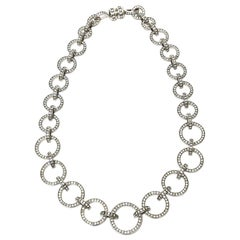 Valentino Runway Rhinestone, Crystal and Nickel Silver Circle Link Necklace