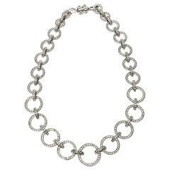 Valentino Runway Rhinestone, Crystal and Nickel Silver Circle Link Necklace