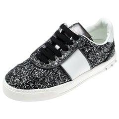Valentino Rutenio/Bianco Glitter Flycrew Lace Up Sneakers Size 37