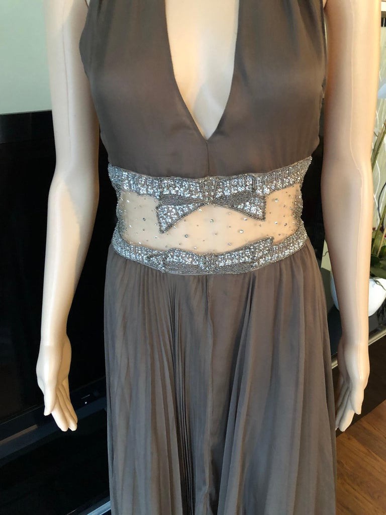 Gray Valentino S/S 2001 Runway Sheer Panel Embellished Brown Dress Gown  For Sale