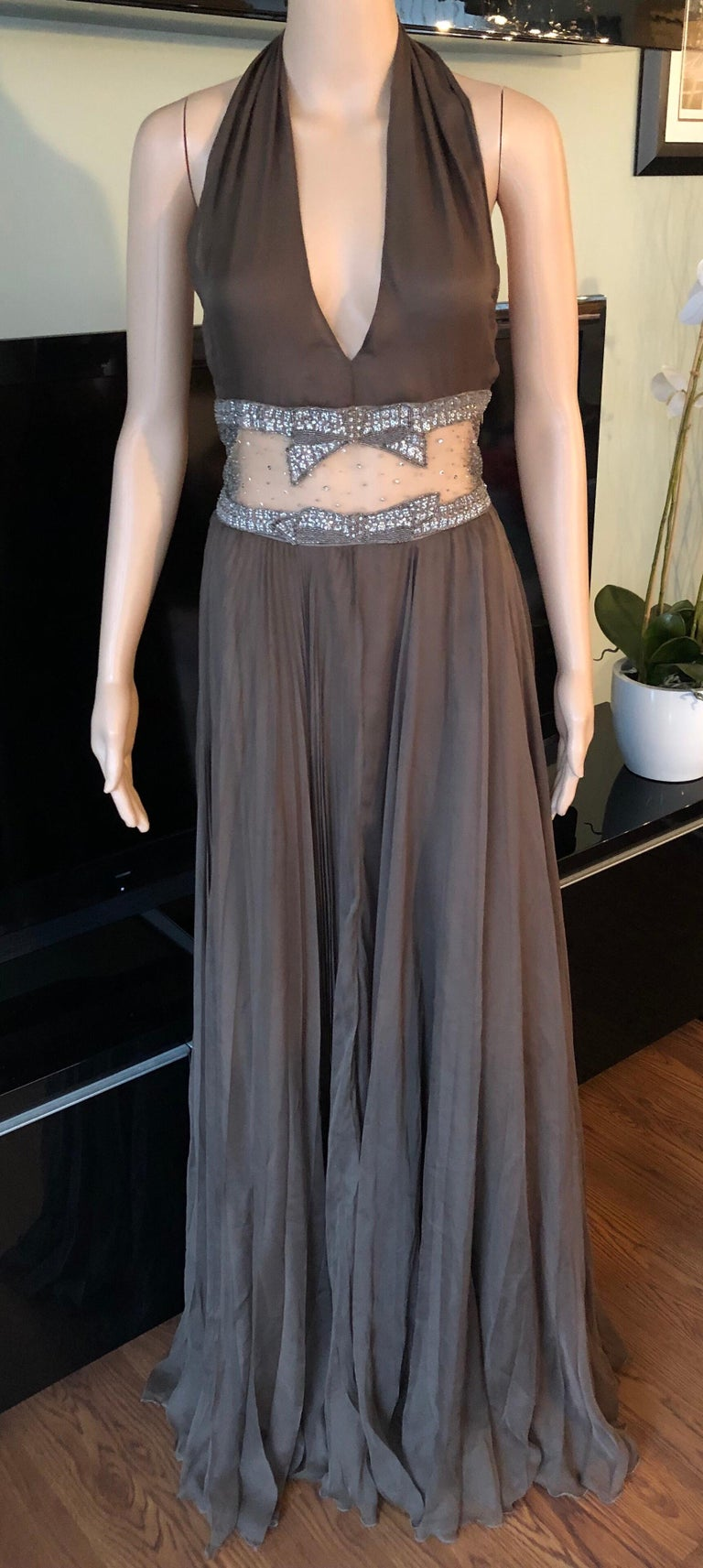 Valentino S/S 2001 Runway Sheer Panel Embellished Brown Dress Gown  In Good Condition For Sale In Totowa, NJ