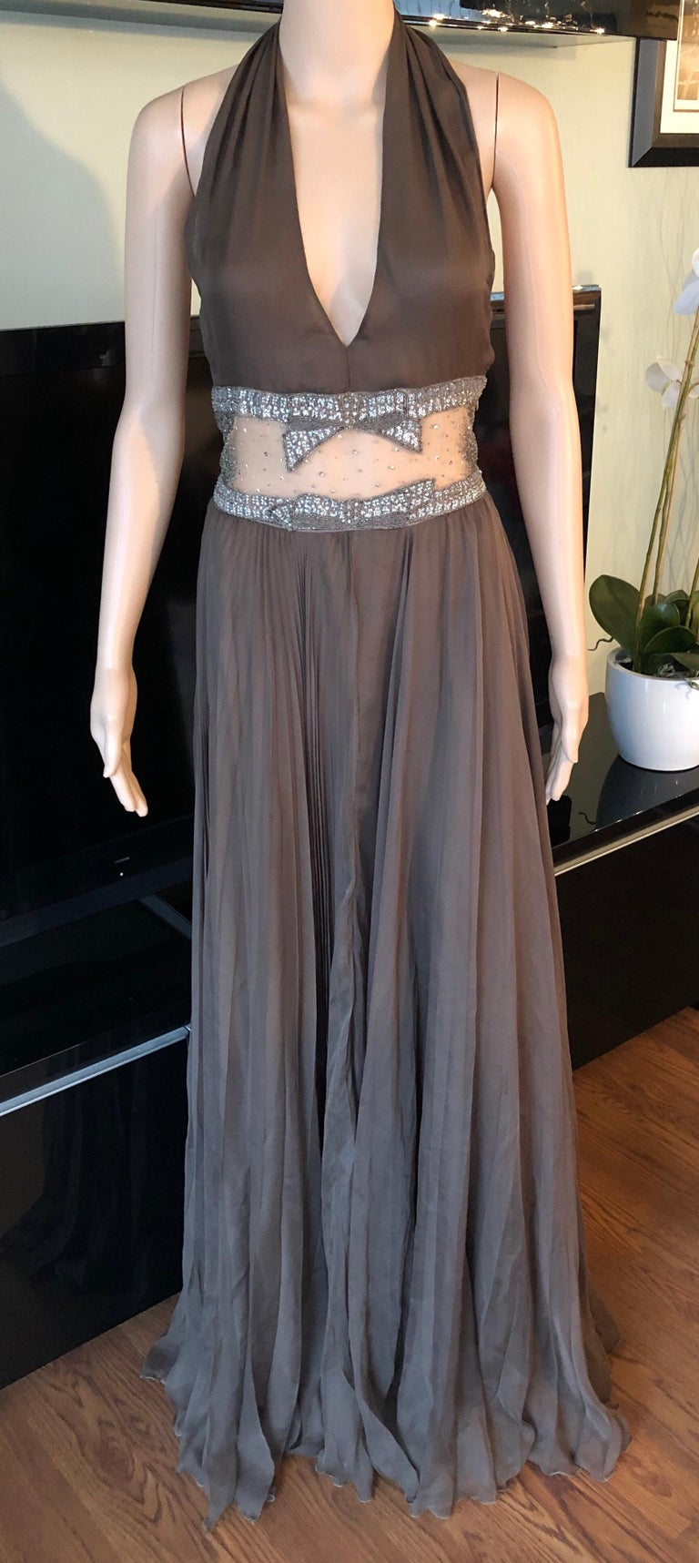Women's Valentino S/S 2001 Runway Sheer Panel Embellished Brown Dress Gown  For Sale