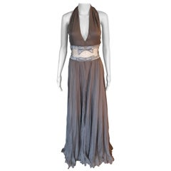 Valentino S/S 2001 Runway Sheer Panel Embellished Brown Dress Gown