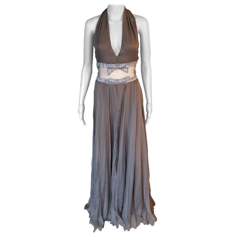 Valentino S/S 2001 Runway Sheer Panel Embellished Brown Dress Gown  For Sale