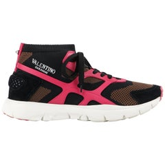 "VALENTINO S/S 2018 Mens ""Sound High Top"" Brown Pink Black Mesh High Top Sneakers"