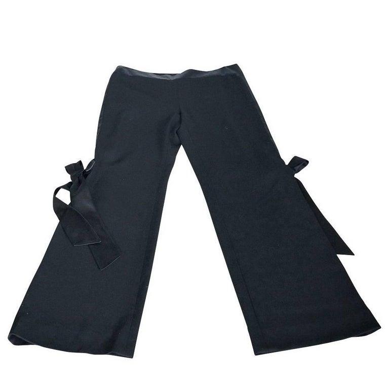 Valentino Pant Signature Silk Bow Accent Full Leg Trouser  8