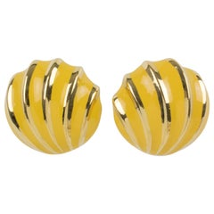 Valentino Yellow Enamel Clip Earrings