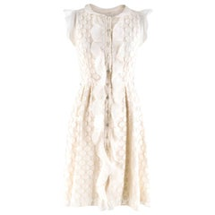 Valentino Silk Blend A-Line Ruffled Embroidered Dress S 40