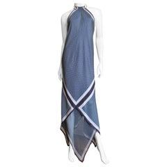 Valentino Silk Halter Maxi Dress with Scarf Drapery