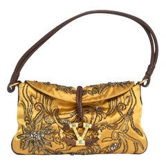 Valentino Silk Satin, Sequined Crystals and Leather Clutch Or Shoulder Bag